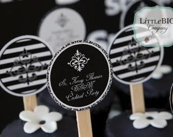 GLAM BLACK & WHITE Printable Cupcake Toppers