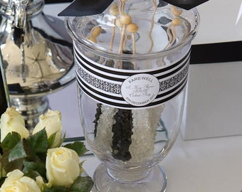 GLAM BLACK & WHITE Printable Drink Wraps or Candy Jar Labels