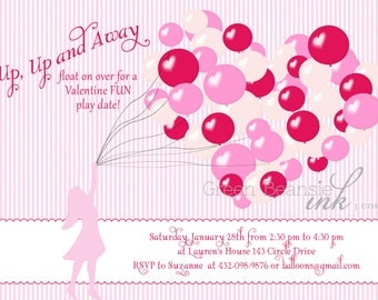 VALENTINE HEART & BALLOONS Printable Party Invitation Printing Available