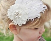 White Feather Headband LUXE Curled Feather MeGa BLInG Diamonds Pearls Hard Metal Toddlers Girls Adults Women Wedding Bridal Flower Girl