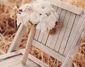 Boho Wedding Bouquet - rustic bridal bouquet - fabric flower bouquet -  woodland - vintage - handmade flowers - Petals & Frayed Blooms