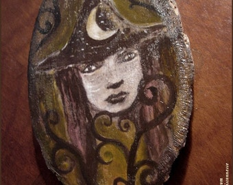 sale - Lunar witch -original painting on wood - halloween