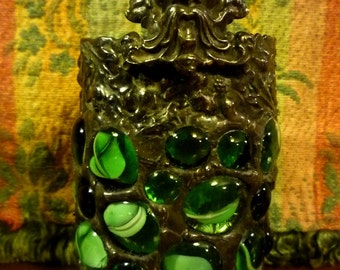 Little Gothic Green Man - Green Mosaic Stained Glass Candle Holder
