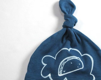 Organic Baby Taco Thoughts Organic Baby Hat hand screen printed