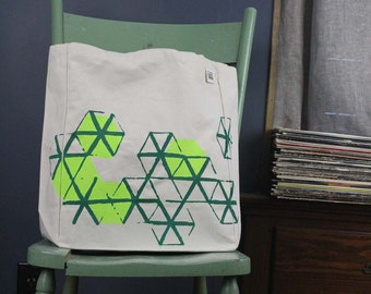 Tote bag Honeycomb geometric screen printed - neon green and green
