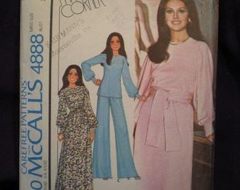 "McCall's 4888 - Sweet 70s Dress - Marlo's Corner - Disco Style Top & Pants - 1970s Vintage Pattern  - Size 6 - Bust 30.5"" Boho DIY"