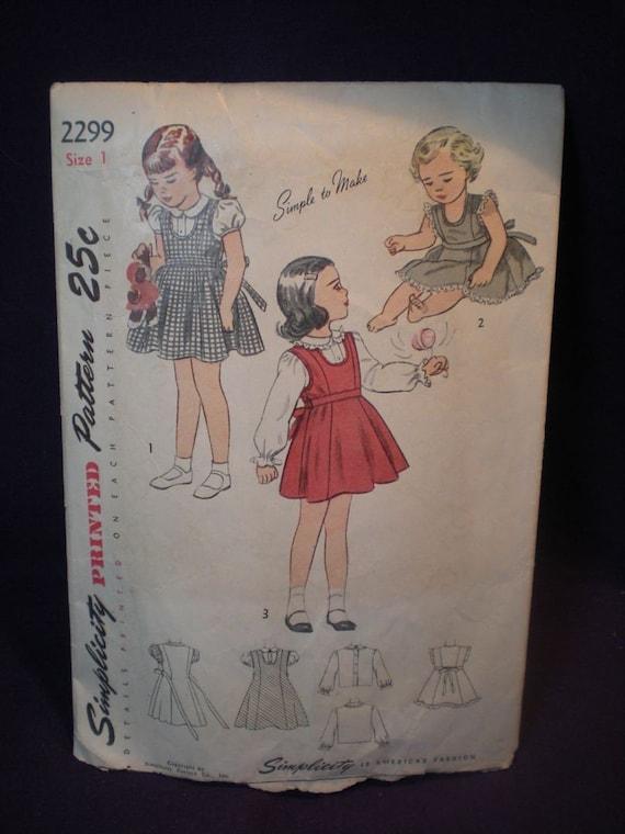 Simplicity 2299 - Cute 1940s Girls Jumper Dress Pattern - Sweet as Sugar - Size 1 (Toddler) - SALE
