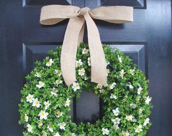 Boxwood Wreath Burlap Ribbon, Floral Arrangement, Outdoor Decoration, Spring Wreath, Year Round Wreath, Front Door Floral Wreath