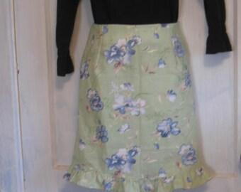 Linen Pencil Skirt with Ruffle on Bottom  sz 10