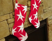 "CUSTOM for Marcymey - Christmas stocking Funky Star design - 18"" long with buttons"