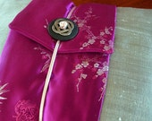 Japanese Decorative throw pillow Silver Silk Grey Pink Fuschia Oriental Flowers Asian decor Lumbar pillow Rectangular - Ready to ship