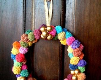 Pom Pom Wreath, christmas, party pom pom, yarn pom pom, garland, cotton, colorful, decoration, door, wall, pompom, decoration, decor, iammie