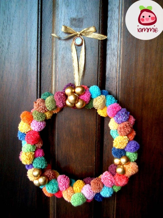 Pom Pom Wreath, christmas, party pom pom, yarn pom pom, garland, cotton, colorful, decoration, door, wall, pompom, decoration, decor, iammie