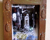 Vintage Mass Photograph at the Basilica de GUADALUPE in Mexico with Antiqued Frame- A peek into history