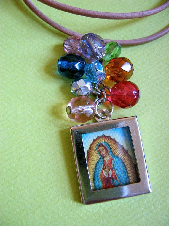 Sale- GUADALUPE  Nicho  on a Colorful Cluster Pendant-  Day of the Dead inspired