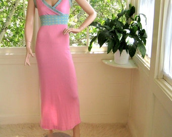 Cute Vintage 70's Pink High waisted Knit Maxi Dress / Nightgown