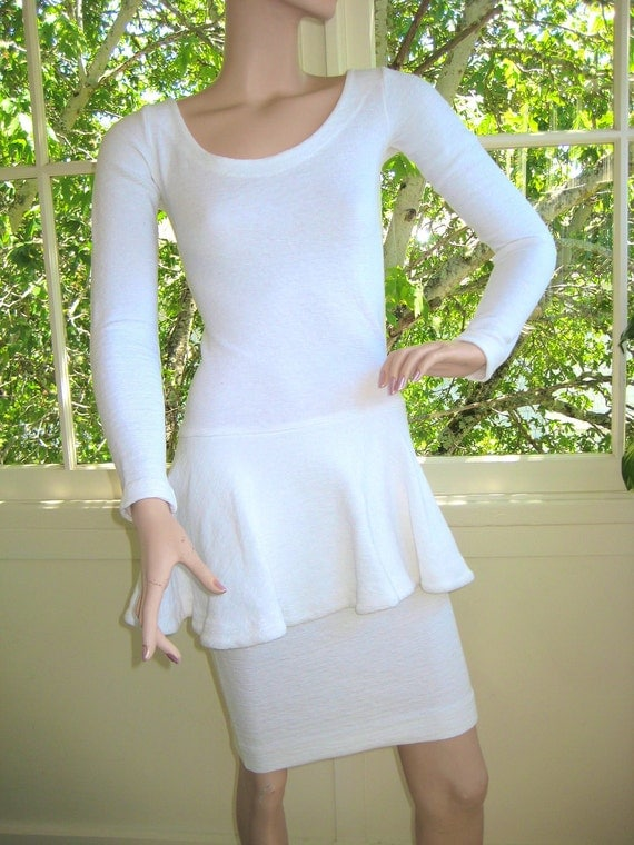 Vintage 80's Betsey Johnson 'Punk Label' White Cotton Body Con Dress RARE and Authentic TOTALLY AWESOME