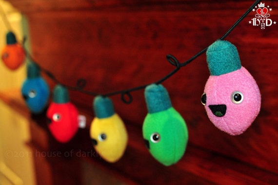 Plush Xmas Bulbs on a Wire light string cute and happy garland