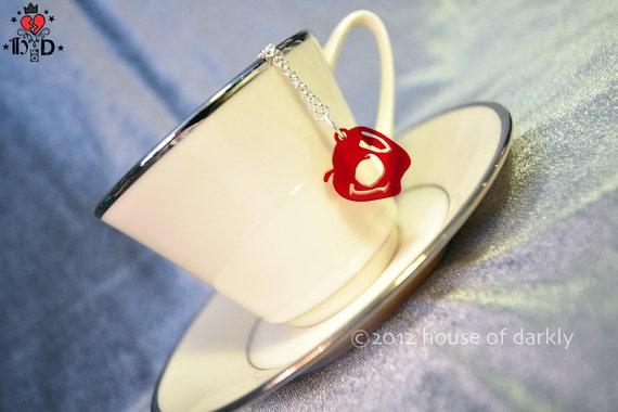 IOU red acrylic apple necklace Sherlock & Moriarty inspired
