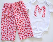 Strawberries - Monogrammed or Numbered Girls Lounge Set (pants and t-shirt) - sizes 12 months, 18 months, 24 months, 2T, 3T, 4T, 5t