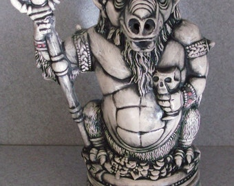 Demon Incense Burner with a skull, Black and white, creepy cool mythical sculpture