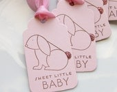 Bunny Baby Shower Tags Sweet Little Baby - Set of 6 -  Baby Girl Shower Favor Tags Baby Shower Decor