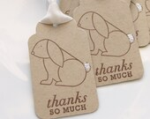 Bunny Tags Thanks so Much - Set of 6 - Custom Colors Available - Bunny Thank You Tags Bunny Baby Shower Favor Tags