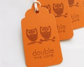 Twin Baby Shower Tags Owls Double the Love - Set of 6 - Twin Baby Shower Favor Tags Twin Baby Owls