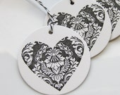 Wedding Favor Tags Damask Heart - Set of 8 - Custom Colors Available - Bridal Shower Tags Wedding Tags