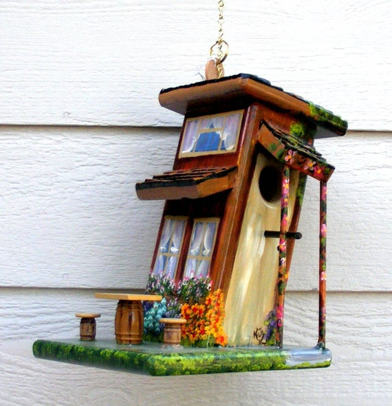 Bird House Handcrafted Slanted Cabin