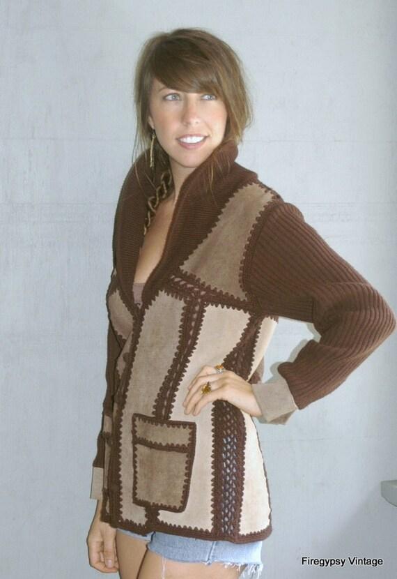 vintage cocoa leather jacket 1970s crochet patchwork free size unisex sweater coat