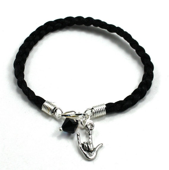 Black Braided Cord Bracelet with American Sign Language -I Love You - Charm and Jet Black Swarovski Crystal