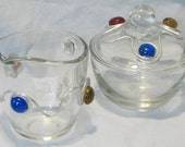 FUN and FUNctinal Glass Sugar and Creamer Set Wrapped with Wire and Beads