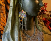 Gypsy Dreams: Shoulder Duster Earrings Vintage BOHO Ethnic Jeweled Extra Long Multi Colored Medieval