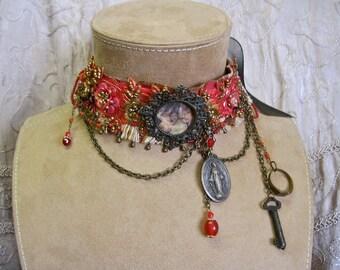 Heavenly Flowers: Gothic Choker Vintage Assemblage Crimson Beaded Trim Ribbon Vintage Angel Tableau Renaissance Bride One of a Kind OOAK
