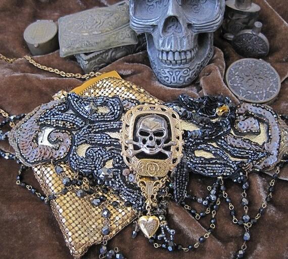 BLACK MAGIC Wedding:  Decadent Jeweled Choker Gothic Pirate Queen Victorian Collar Statement Necklace Neckpiece One of a Kind ooak