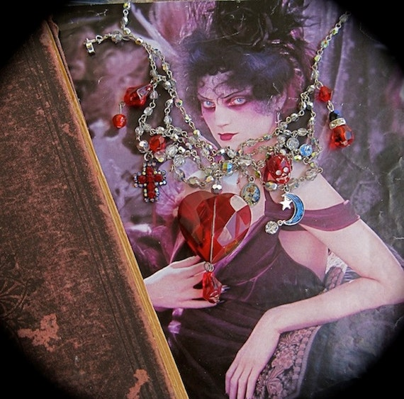 I Bleed For You: Heart Necklace Choker Gothic Vintage Assemblage Red Heart Dripping Blood Austrian Crystals Skull Cross Edgy Valentines Day