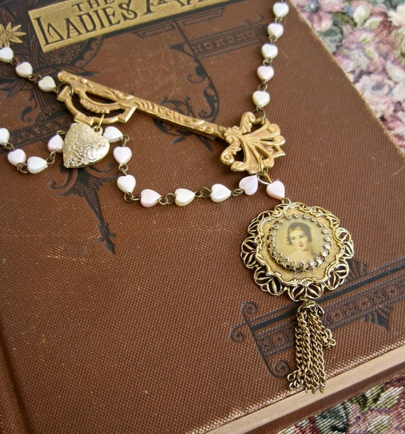 on hold Victorian Dreamer: Lovely Lady and Key Heart Necklace VINTAGE ASSEMBLAGE