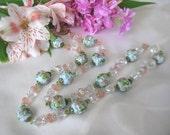 SALE,Vintage Unique Floral Art Glass Necklace,Peridot Gemstone Necklace,Pastel Murano Art Glass Necklace,Colorful Vintage Italian Glass,9119