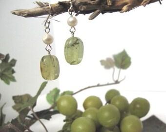 Sale, Sea Green Stone and Pearl Earrings,Pearl Earrings,Dangle Earrings,Stone Dangle Earrings, Handmade Earrings, Natural Stone Jewelry 8139