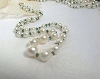 SALE Akoya Japanese Graduated Sea Pearl Necklace,High Luster Traditional Pearl Choker,Natural Emerald Genstone Necklace,Sea Pearl Strand,271
