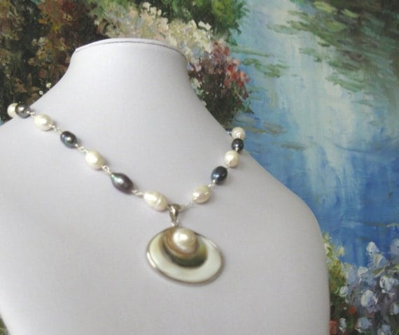Mabe Pearl Necklace: SALE Pearl Necklace Large Mabe Pearl Pendant Black And