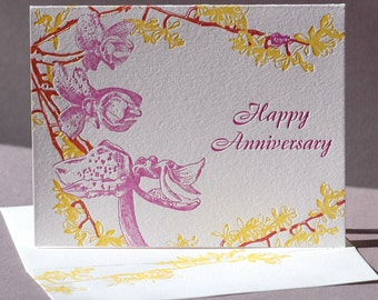 Orchid Anniversary Card and Blank Note Card