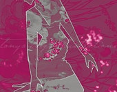 Floral Heels by Tanya Leigh - 8x10 Fashion Illustration Print (Cranberry)