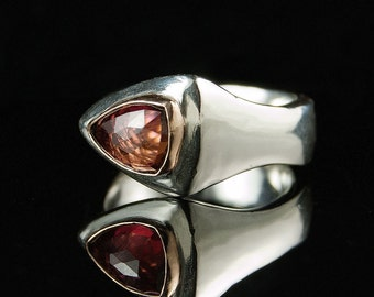Rose Cut Tourmaline Ring 14k gold bezel, Sterling Silver Ring , OOAK Trillion Tourmaline, size 5-8