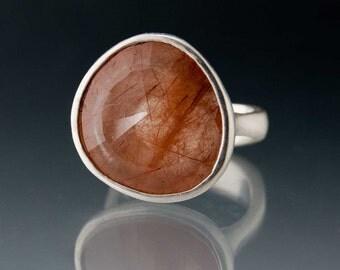 Pebble Ring - Large Rose Cut Rutile Quartz in Sterling Silver size 7.5 Gemstone Ring