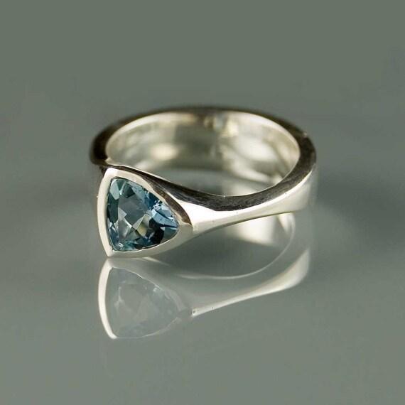 Tetra Ring with Santa Maria Aquamarine, Sterling Silver Engagement Ring