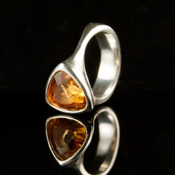 Sunny Citrine Tetra Ring, OOAK Sterling Silver Ring Trillion Faceted Gemstone Ring