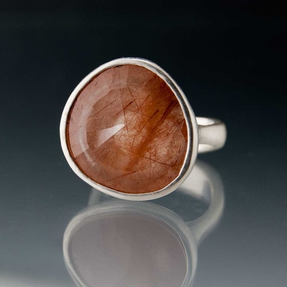 Pebble Ring - Large Rose Cut Rutile Quartz in Sterling Silver size 7.5 Gemstone Ring