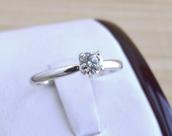 Moissanite Solitaire Ring Sterling Silver Made To Order